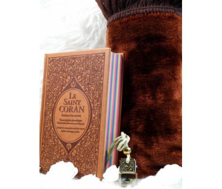 Coffret/Pack Cadeau Marron : Le Saint Coran Rainbow (français-arabe-phonétique), Tapis de prière et Diffuseur de parfum
