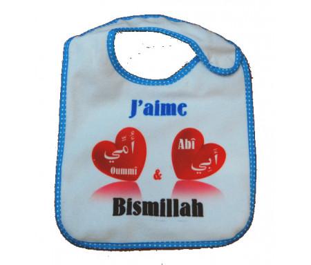 Bavoir J'aime Abî et Oummî - Bismillah (Bleu) pour garçons