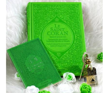 Pack Cadeau Vert clair : Le Saint Coran Rainbow et La citadelle du musulman (français/arabe/phonétique) avec diffuseur de parfum