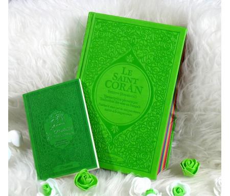 Pack Cadeau Vert clair : Le Saint Coran Rainbow et La citadelle du musulman (français/arabe/phonétique)
