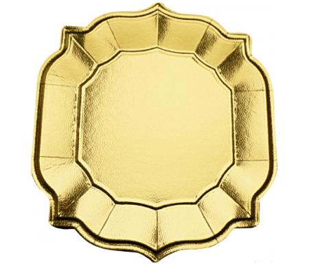 Lot de quatre (4) Assiettes / Sous-assiette style Oriental dorée brillant