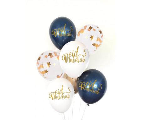 Lot de huit (8) ballons Spécial Eïd Mubarak de 30cm (Qualité supérieure)