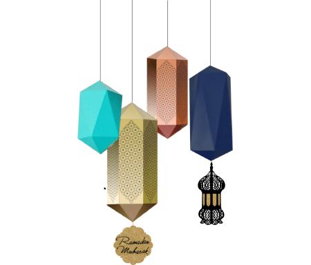 Lot de quatre (4) Lanternes suspendues géométriques avec médaillons