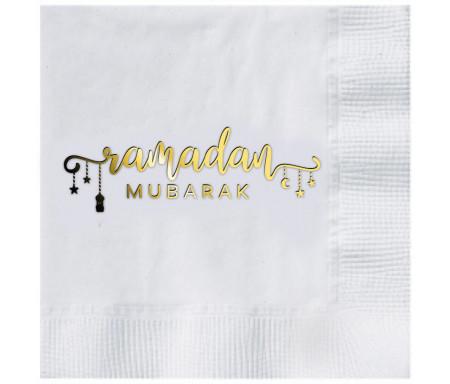 Lot de 16 grandes Serviettes de table gaufrées Serviettes blanche Ramadan Mubarak Charm