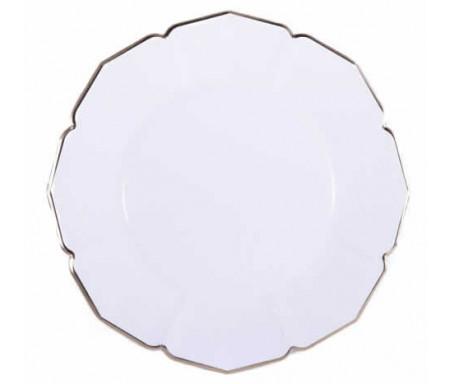 Lot de 8 grandes Assiettes pour le dîner effet lin de Couleur blanche