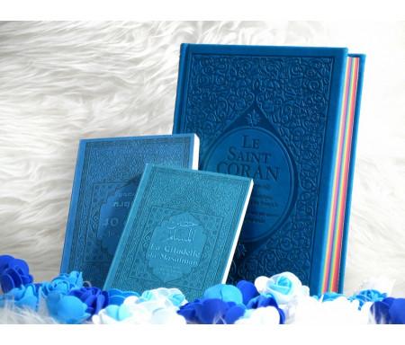Coffret/Pack Cadeau Bleu (français/arabe/phonétique) : Le Saint Coran Rainbow, Les 40 hadiths an-Nawawî et La citadelle du musulman