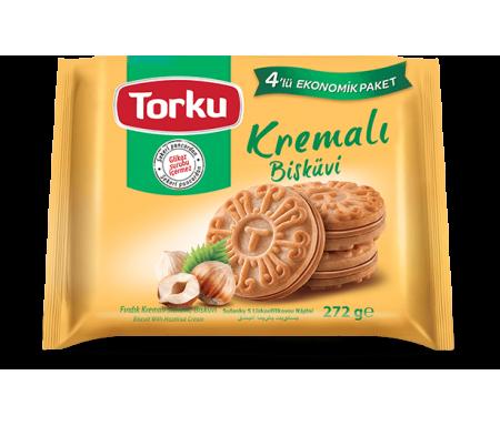 TORKU Kremali Bisküvi Findik (Multi-pack) / Biscuit à la Crème aux Noisettes (4x61gr) x 8pcs
