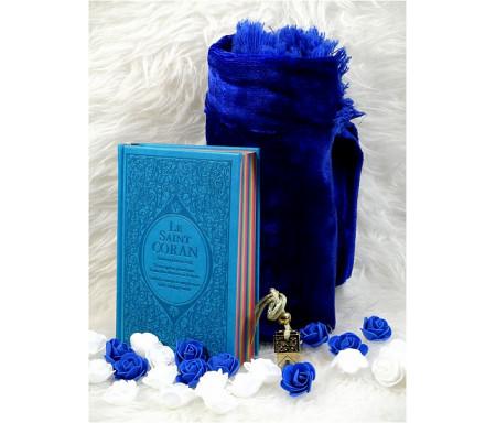 Coffret/Pack Cadeau Bleu : Le Saint Coran rainbow, Tapis de priére et un musc au choix