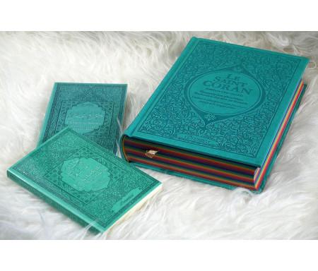 Coffret/Pack Cadeau musulman Vert-Bleu : Le Saint Coran Rainbow (arc en ciel), Chapitre Amma (Jouz' 'Ammâ) et La citadelle du musulman (français arabe phonétique)
