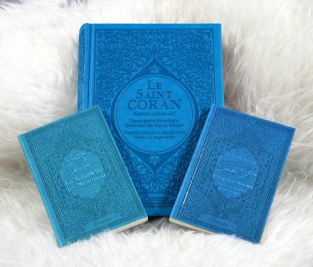Coffret/Pack Cadeau Bleu (français/arabe/phonétique) : Le Saint Coran Rainbow, Chapitre Amma (Jouz' 'Ammâ) et La citadelle du musulman