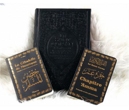 Pack Cadeau noir doré (français/arabe/phonétique) : Le Saint Coran Rainbow, Chapitre 'Amma et La Citadelle du musulman