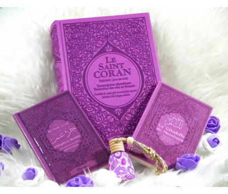 Pack Cadeau pour femme musulmane couleur mauve assorti avec : Le Saint Coran Rainbow - Chapitre Amma - La Citadelle du Musulman - Diffuseur de parfum