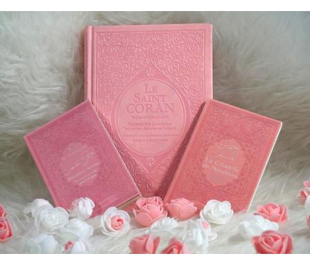 Cadeau de l'Aid pour femme (Pack avec Le Saint Coran Rainbow, Chapitre Amma et La citadelle du musulman) - Rose clair