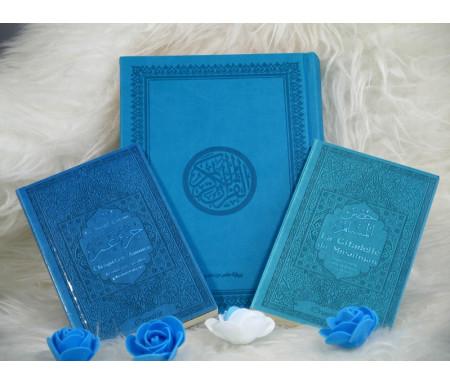 """Pack Cadeau """"pas cher"""" couleur bleu turquoise avec 3 livres : Le Saint Coran, Chapitre Amma et La Citadelle du Musulman"""