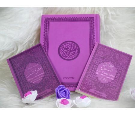 Coffret/Pack Cadeau Mauve pour femme musulmane : Le Saint Coran (arabe), Chapitre Amma et La citadelle du musulman (bilingues)