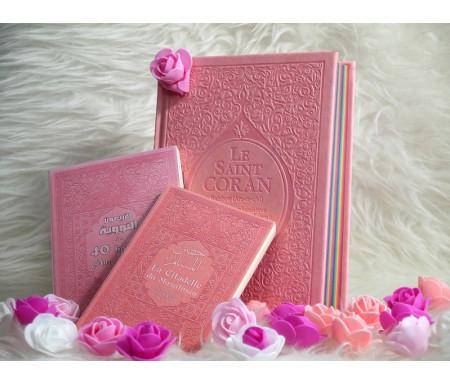 Coffret Islam / Pack Cadeau rose clair pour femme musulmane : Le Saint Coran Rainbow (français/arabe/phonétique), Les 40 hadiths an-Nawawî et La citadelle du musulman