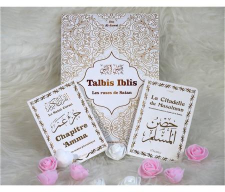 Pack Cadeau pour Musulman francophone - Trois livres : Talbîs Iblîs (Les ruses de Satan) - Le Saint Coran Chapitre 'Amma - La Citadelle du musulman - Couvertures blanches dorées
