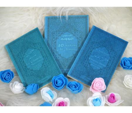 Pack Cadeau Mixte Bleu - pas cher - avec 3 livres bilingues : Les 40 hadiths an-Nawawî, Chapitre Amma et La citadelle du Musulman