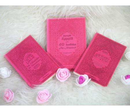 Coffret/Pack Cadeau pas cher de couleur rose pour femme musulmane : Les 40 hadiths an-Nawawî, Chapitre Amma et La Citadelle du Musulman