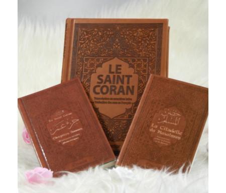 Coffret Cadeau Marron (3 livres français-arabe-phonétique) : Le Saint Coran, Jouz' 'Amma et La Citadelle du Musulman