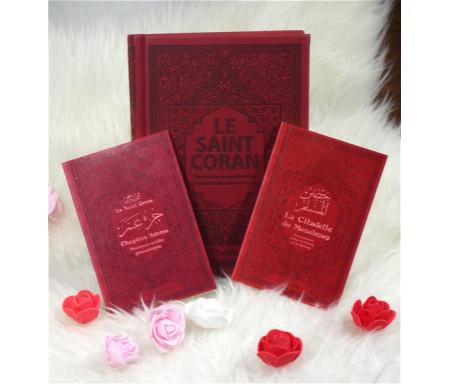 Pack Cadeau Bordeaux (3 livres en français-arabe-phonétique) : Le Saint Coran, Chapitre Amma, La Citadelle du musulman