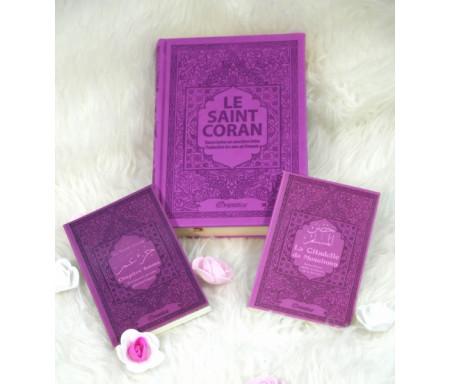 Coffret/Pack Cadeau Mauve pour femmes musulmanes : Le Saint Coran, Chapitre Amma (Juz' 'Ammâ) et La citadelle du musulman