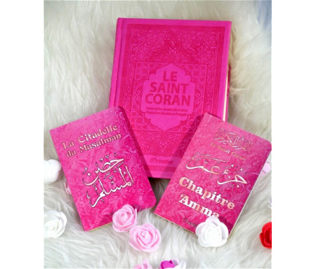 Coffret cadeau islamique rose pour femme musulmane : Le Saint Coran, Chapitre Amma et La citadelle du musulman