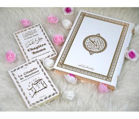 Coffret/Pack Cadeau blanc doré pour homme ou femme musulmane : Le Saint Coran (arabe), Chapitre Amma (Jouz' 'Ammâ) et La citadelle du musulman bilingue