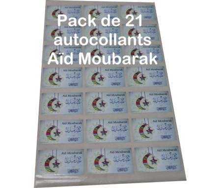 """Pack de 21 autocollants """"Aid Moubarak"""" bilingues (français/arabe - 6 cm) pour cadeaux musulman - Stickers Eid Mubarak - عيد مبارك"""