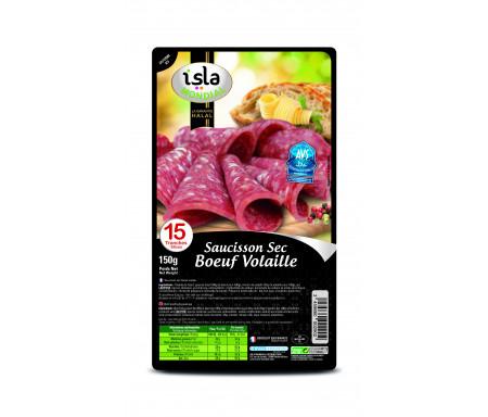 Saucisson Sec tranché Bœuf Volaille certifié AVS 150gr (15 tranches) - Isla Mondial