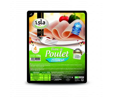 Blanc De Poulet Allégé en Sel Halal Qualité Supérieure certifié AVS 120gr (4 tranches) - Isla Mondial