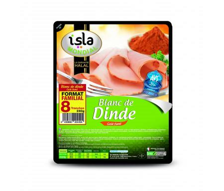 Blanc de Dinde Halal Goût fumé Format Familial Qualité Supérieure certifié AVS 240gr (8 tranches) - Isla Mondial