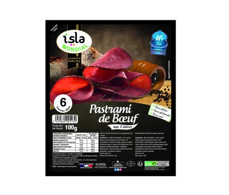 Pastrami de Bœuf aux 3 Épices Halal certifié AVS 100gr (6 tranches) - Isla Mondial
