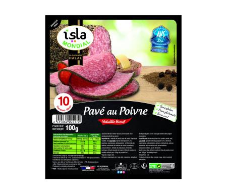 Pavé au Poivre Volaille / Bœuf Halal certifié AVS 100gr (10 tranches) - Isla Mondial