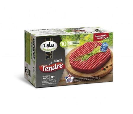 """Steak Haché """"Maxi Tendre"""" Halal certifié AVS 800gr (10 sachets individuels) - Isla Mondial"""