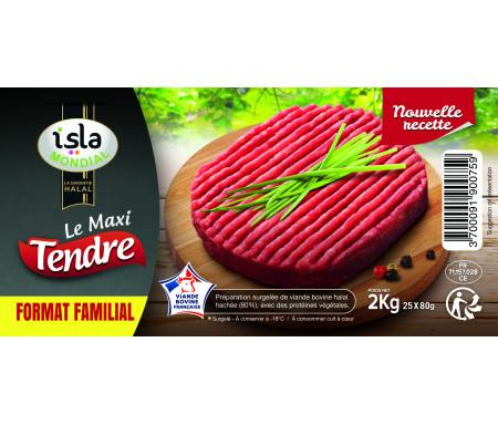 """Steak Haché """"Maxi Tendre"""" format FAMILAL Halal certifié AVS 2kg (25 sachets individuels) - Isla Mondial"""