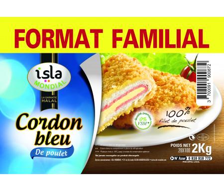 Cordons Bleus 100% Filets de Poulet format FAMILIAL Halal certifié AVS 2kg (20 pièces) - Isla Mondial