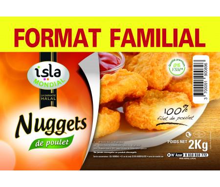 Nuggets 100% Filets de Poulet format FAMILIAL Halal certifié AVS 2kg - Isla Mondial