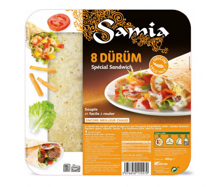 Dürüm Spécial Kebab Petites galettes 8 x 25cm / 490gr - SAMIA