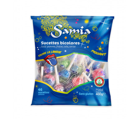 Bonbons Halal Sucettes Bicolores 400gr - SAMIA