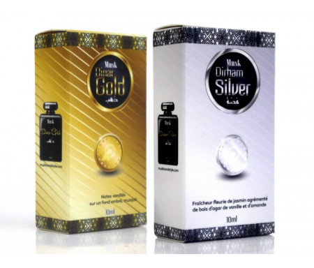 Pack Musk Dinar Gold & Silver pour Homme et Femme (2 x 10ml) - Muslim & Style