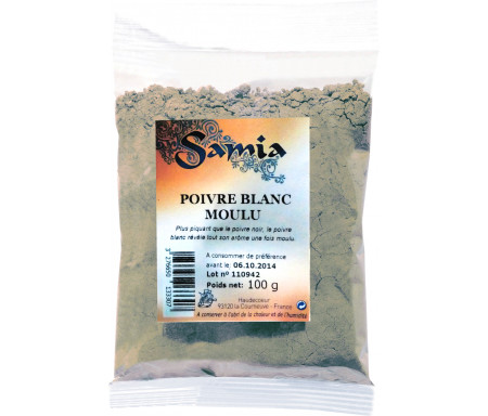 Poivre Blanc en poudre / moulu en Sachet de 100gr - SAMIA