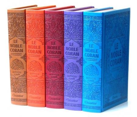 Pack 2 de 5 Corans de luxe en 5 couleurs de couvertures différentes : Le Saint Coran bilingue avec pages en couleurs d'Arc-en-ciel (Rainbow)