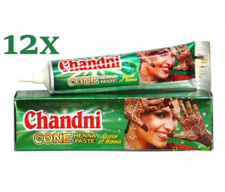 12 x Tube de Henné 100% naturel Prêt à l'emploi pour tatouage - Couleur Marron - Chandni