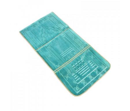 Tapis de Prière Pliable & Confort avec Dossier (support du dos et des genoux) - Bleu