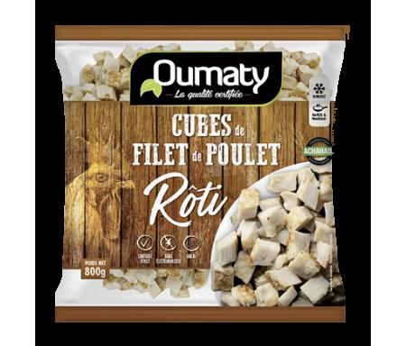 Cubes de Filet de Poulet rôti Halal certifié Achahada - Sachet 800gr (surgelé) - Oumaty