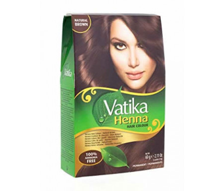 """Henné Noir pour Coloration des Cheveux """"Natural Brown"""" sans Ammoniaque (6 sachets x 10gr) - Vatika"""