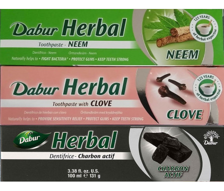 Pack 3 Dentifrices Herbal Charbon actif / Clou de girofle / Neem sans Fluor - 155gr