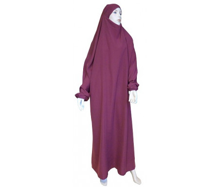 Jilbab Al-Haramayn une (1) pièce - Couleur Prune