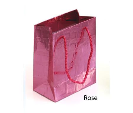 Petit sac cadeau brillant Rose - 14,5 x 12 cm